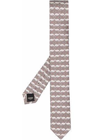 Fendi Men Bow Ties - Dinosaur-print silk tie - Neutrals