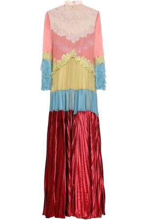 VALENTINO Woman Lace-trimmed Pleated Color-block Velvet And Voile Maxi Dress Multicolor Size 4