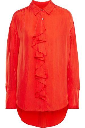 Cinq A Sept Woman Rosalie Ruffled Twill Shirt Tomato Size M