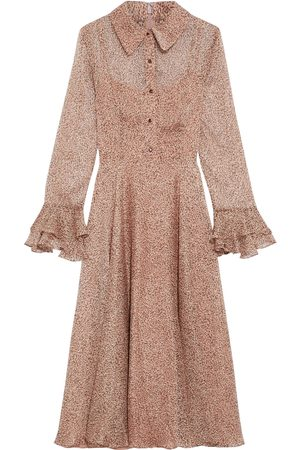 MIKAEL AGHAL Woman Ruffle-trimmed Leopard-print Georgette Midi Dress Baby Size 10