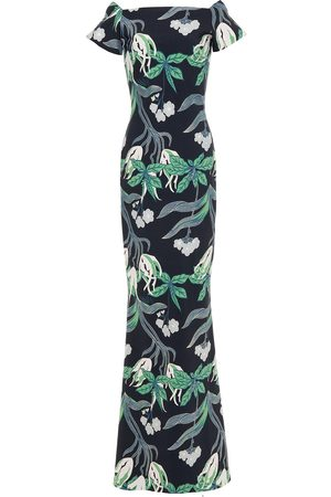 CHIARA BONI Woman Sita Metallic Floral-print Scuba Gown Size 38