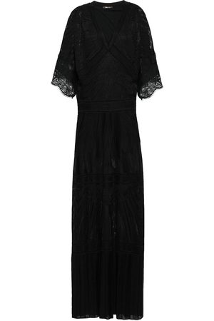 Roberto Cavalli Woman Lace-trimmed Pointelle-knit Maxi Dress Size 42
