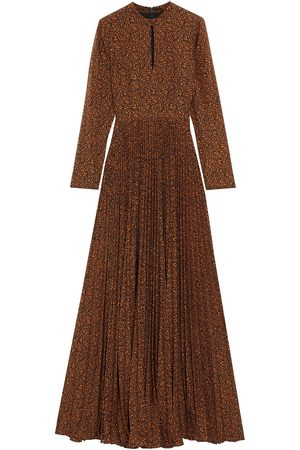 MIKAEL AGHAL Woman Cutout Pleated Printed Crepe De Chine Maxi Dress Size 10