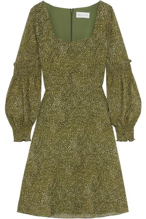 MIKAEL AGHAL Woman Shirred Printed Crepe De Chine Dress Leaf Size 10