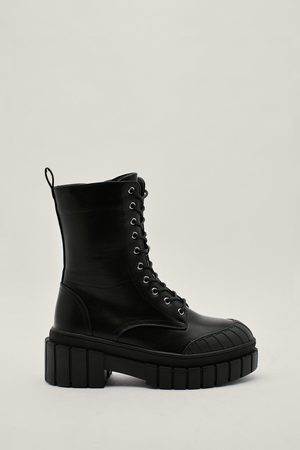 NASTY GAL Womens Faux Leather Mud Guard Hiker Boots
