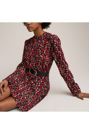 La Redoute Floral Bodycon Mini Dress with Crew Neck and Long Sleeves