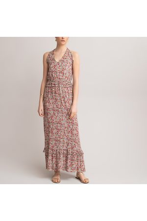 La Redoute Halterneck Maxi Dress in Floral Print with Plunge Neck and Ruffled Tier
