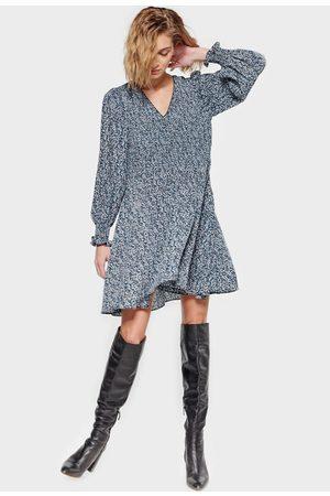 Le Temps des Cerises Printed Mini Dress with V-Neck