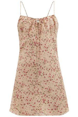 Saint Laurent Floral-print Silk-crepe De Chine Mini Dress - Womens - Multi