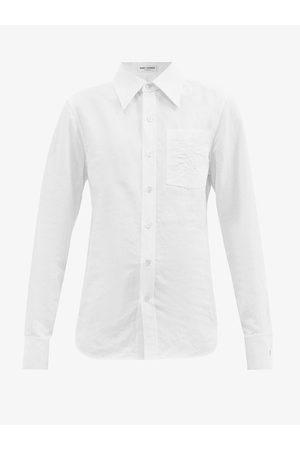 Saint Laurent Ysl-embroidered Cotton-blend Oxford Shirt - Womens - Cream