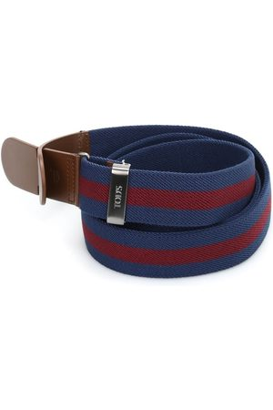 Tod's Men Belts - CANVAS AND LEATHER BELT IN AND RED