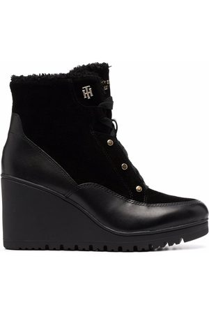 Tommy Hilfiger Women Wedge Boots - Warm-lined Mid Wedge leather boots