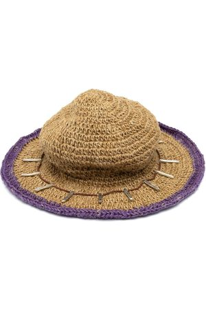 Youths in Balaclava Contrasting trim straw hat - Neutrals