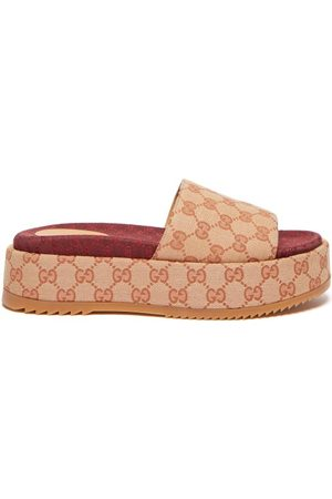 Gucci GG Canvas Flatform Sandals - Womens