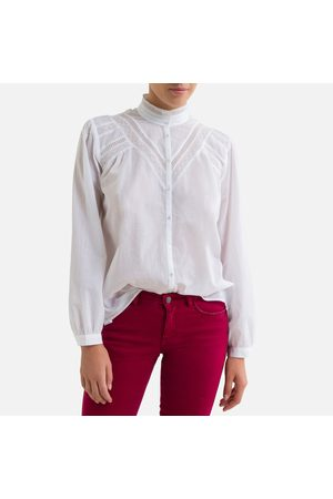 IKKS Embroidered Cotton Shirt with Victorian Collar