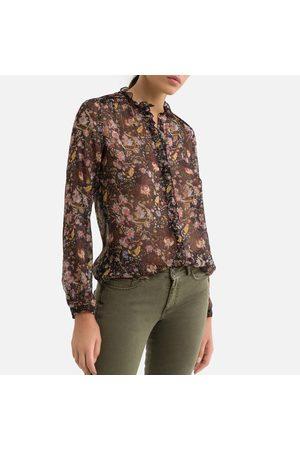 IKKS Sheer Floral Print Shirt with Long Sleeves
