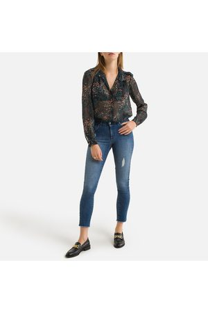 IKKS Fitted Floral Voile Shirt with Long Sleeves