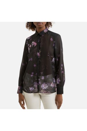 IKKS Floral Print Voile Shirt with Long Sleeves