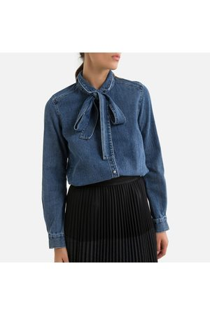 IKKS Women Long sleeves - Denim Pussy Bow Shirt with Long Sleeves