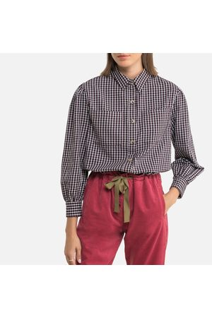 Petite Mendigote Max Shep Checked Blouse in Cotton with Long Sleeves