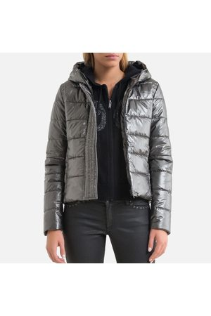 IKKS Women Coats - Short Padded Puffer Jacket with Hood and Zip Fastening