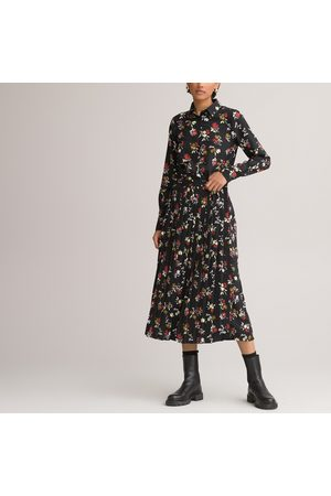 La Redoute Floral Midaxi Shirt Dress with Pleated Skirt