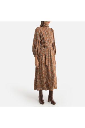Petite Mendigote Piona Printed Midaxi Dress with a High Ruffled Neck