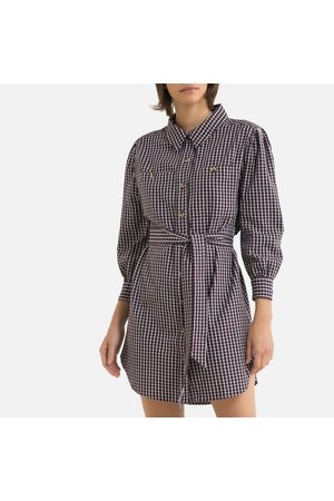 Petite Mendigote Salome Mini Shirt Dress in Checked Cotton