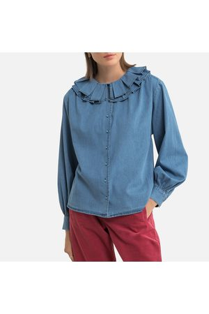 PETITE MENDIGOTE Cotton Ruffled Blouse with Long Sleeves