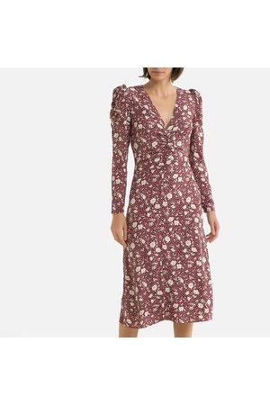 Petite Mendigote Anna Printed Midi Dress with Long Puff Sleeves