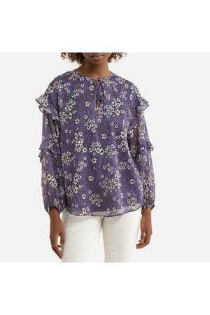IKKS Floral Tie-Neck Blouse with Long Sleeves