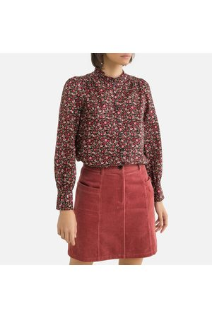 Petite Mendigote Cotton High Neck Blouse in Multicolour Print with Long Sleeves