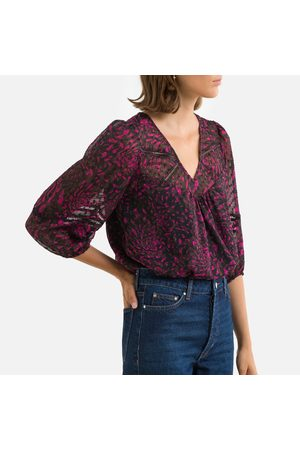 IKKS Printed V-Neck Blouse with 3/4 Length Puff Sleeves