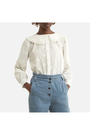 Petite Mendigote Saure Cotton Blouse with Ruffled Collar and Long Sleeves