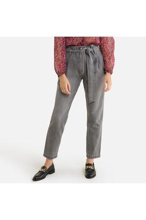 "IKKS Women Bootcut - Wide Leg Jeans with Tie-Waist, Mid Rise Length 27.5"""