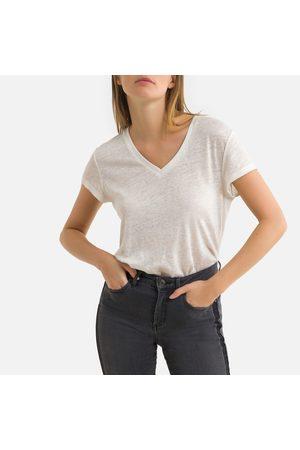 IKKS Linen V-Neck T-Shirt with Short Sleeves