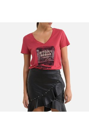 IKKS Printed Cotton Mix T-Shirt with V-Neck and Short Sleeves