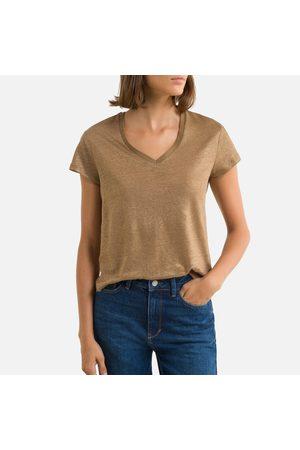 IKKS Women Short Sleeve - Linen V-Neck T-Shirt with Short Sleeves