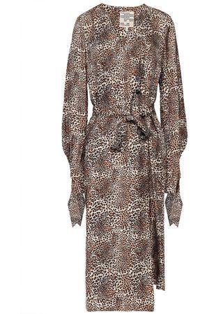 Baum und Pferdgarten Woman Ajana Leopard-print Silk Twill Midi Wrap Dress Animal Print Size 34
