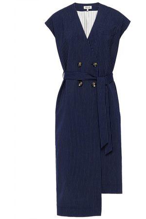 BAUM UND PFERDGARTEN Woman Aolany Pinstriped Woven Midi Wrap Dress Navy Size 34