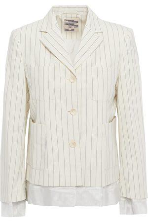 BAUM UND PFERDGARTEN Woman Bolivia Satin-trimmed Pinstriped Woven Blazer Ivory Size 32