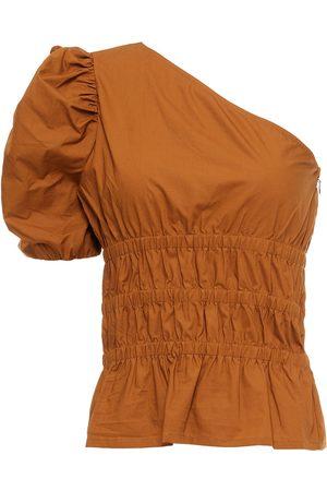 Baum und Pferdgarten Woman Monessa One-shoulder Shirred Organic Cotton-poplin Top Camel Size 32