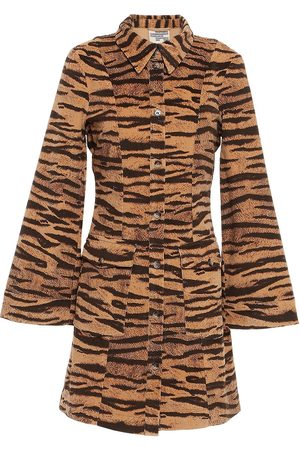 Baum und Pferdgarten Woman Alec Tiger-print Cotton-blend Mini Shirt Dress Camel Size 34