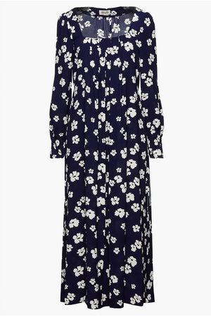 Baum und Pferdgarten Woman Asayo Pleated Floral-print Crepe Midi Dress Navy Size 34