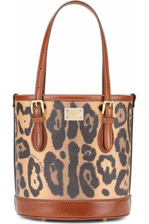 Dolce & Gabbana Leopard-print leather tote bag