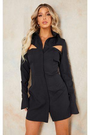 PRETTYLITTLETHING Cut Out Detail Long Sleeve Blazer Dress