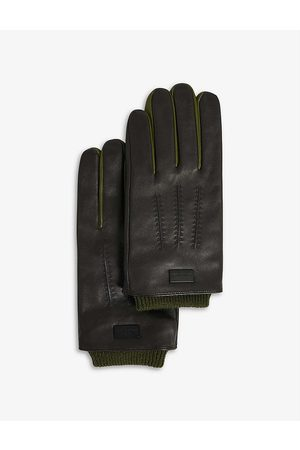 Ted Baker Ballot ribbed-cuff contrast-trim leather gloves